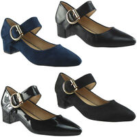 Womens Ladies Mary Janes Low Mid Heel Casual Office Work Pointed Toe Shoes Size
