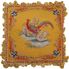 "16"" x 16"" Handmade Wool Needlepoint Petit Point Pheasant and Swan Pillow"