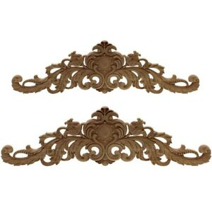 Carving Natural Wood Appliques For Furniture Cabinet Unpainted Wooden MouldS7N3