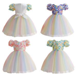 Toddler Baby Kids Girls Lace Christening Tutu Dress Bridesmaid Princess Party