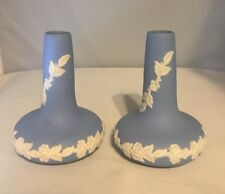 Pair of Vintage ECanada Art Pottery Bud Vase Blue White Jasperware