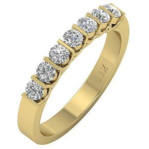 Bar Set Anniversary Ring Earthmined Diamond VS1 E 0.85 Carat 14K Solid Gold