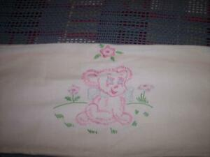 VINTAGE HANDMADE WHITE/PINK  EMBROIDERY BABY/DOLL BLANKET