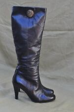 Authentic Gucci Black Leather High Heel Boot Size 36 US 6 Medallion / Crest