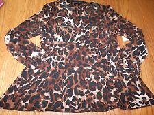 NWT WOMENS RAFAELLA TAWNY CHEETAH LEOPARD BLOUSE SMALL S $65 3/4 Sleeve SHIRT