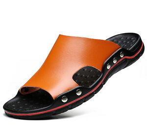 Mens Summer PU Leather Casual Sandals Beach Shoes Anti-slip Flat Slippers