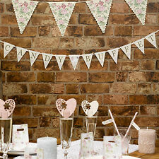 CANDY BAR BUFFET BUNTING FLAGS 1m Vintage Flora Pink Roses WITH LOVE Wedding