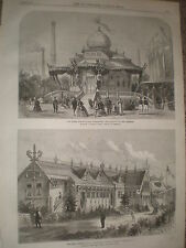 Paris Exhibition Pavilion of the Emperor and Russia stables 1867 old prints r Y4