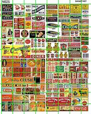 N025 DAVE'S DECALS N SCALE BEER GAS & OIL SODA COLA ASSORTED STORE SIGNS MIXTURE