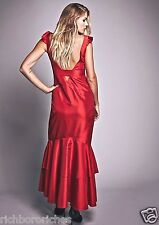 NEW Free People Special Edition Red Taffeta Hi Lo Open Back Maxi Gown Dress 8
