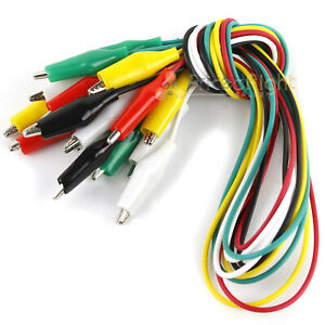 """10 Alligator Test Leads Electrical Jumper Clips 15"""" Double Ended Cable Wire"""