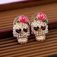 Skull Fashion Cool Betsey Johnson Pink Rose Skeleton Stud Earrings Gift Party