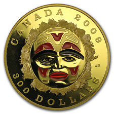 2009 Canada Proof Gold $300 Summer Moon Mask (Scratched)