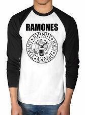 Official Ramones Presidential Seal Raglan T-Shirt 2 Tone Long Sleeve Baseball