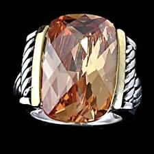 DYNAMIC_2-TONE_CHAMPAGNE CITRINE CZ CABLE RING SZ-11__925 STERLING SILVER