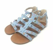 Stevies Girls' My Squad Embellished Denim Gems Sandals No Heel Blue Size 2