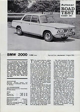 BMW 2000 Saloon Road Test 1966-67 UK Market Foldout Sales Brochure Autocar