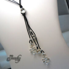 Lariat Black Leather Matte Silver Stainless Steel Crystal Charm 30″-35″ Necklace