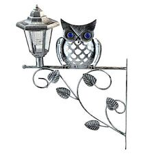 New Owl Wall Bracket with Solar Powered Light Led Lantern Hanging Garden Outdoor