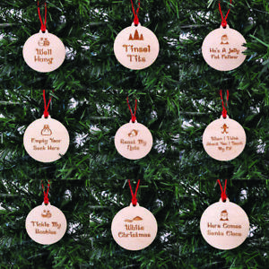Funny / Rude Christmas Baubles Merry Personalised Wooden Hanging Tree Decoration