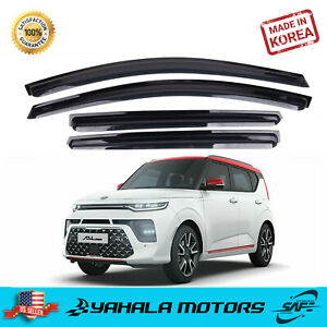 Safe Smoke Window Visor Sun Rain Vent Guard 4 Pcs Set for Kia Soul Booter 2020+