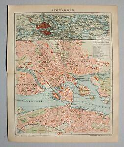 Stockholm, Schweden, Sverige - Dekorativer Stadtplan, Karte - Lithographie 1903