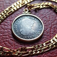"Authentic Shipwreck 1783 Spanish Silver Reale on a. 24"" 18KGF Gold Filled Chain."