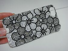 Black White Flowers Made with Swarovski Crystal Bling Shiny Case iPhone 7/8 Plus