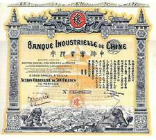Banque Industrielle de Chine dekorative hist Aktie Paris 1920 China Bank Drachen