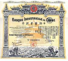 Banque Industrielle de Chine dekorative hist Aktie Paris 1920 China Bank Drachen