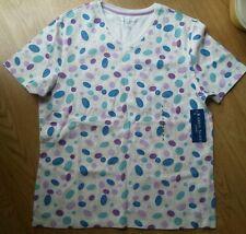 Ladies Karen Scott Sport Shirt Top White Purple bl design Cotton sz S Scoop NEW