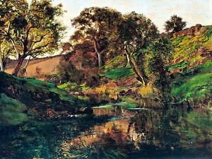 Evening Merri Creek A1 by Julian Ashton High Quality Canvas Print