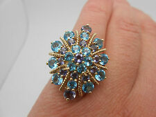 Large 10K Solid Yellow Gold Ladies Blue Topaz & Tanzanite Dinner Cocktail Ring