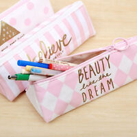 COOL CANDY COLOR Pink Canvas Pencil Case Stationery Storage Zipper Organizer Bag