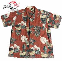 Joe Marlin Men's Large L Red Tan Green Tropical Floral Hawaiian Shirt Camp RV