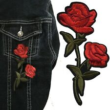 Red Rose Iron on patch -  flower blossom love symbol embroidery iron-on patches
