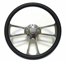 "1967-1968 Nova, Chevy II  14""  Billet and Black Steering Wheel Kit, with SS Horn"