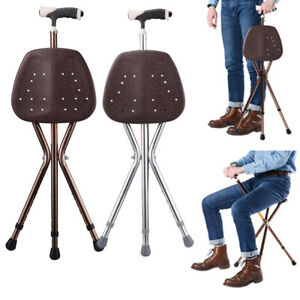 Folding Aluminium Walking Stick with Seat Adjustable Height Hiking Chair Canes