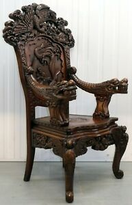 CHINESE THRONE ARMCHAIR ARCHED BACK CARVED ARMS WITH THREE DRAGON IN PANEL