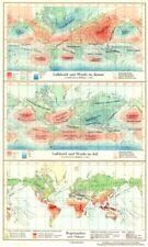 WORLD.Erde.Klima;Luftdruck Winde Januar;Juli;Regenzeiten Orkane 1958 old map
