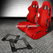 RECLINABLE RED FABRIC/BLACK TRIM RACING SEAT+BRACKET+FOR 92-99 BMW E36 COUPE M3