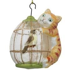 Cat on a Bird Cage Glass Christmas Ornament 4 Inches