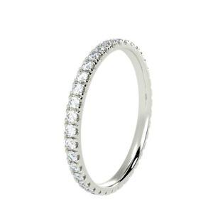 RRP £800 2MM Micro Pave Round Diamond Full Eternity Wedding Ring Hallmarked Gold