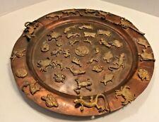 "Old ""Antique Tibet"" Mandala ZODIAC Calendar Plate Copper Bronze Unique"