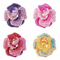 Fashion Pink Flower Crystal Wedding Brooch Pin Women Jewelry Mother's Day Gift