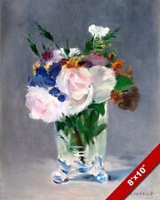 FLOWERS IN A CRYSTAL VASE PAINTING ART REAL CANVAS GICLEEPRINT EDOUARD MANET