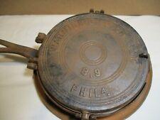 Antique Cast Iron Waffle Maker Warnick & Leibrandt Philadelphia 8,9 Sz.