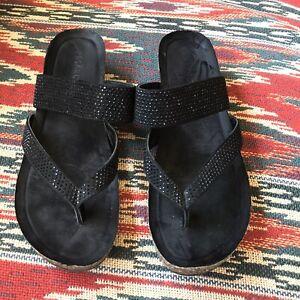 PESARO Women's Black Sandal Shoes Size 8 STRAP WEDGES