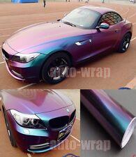 "Bidding 12"" x 60"" Car Glossy Flat Chameleon Vinyl Wrap Sticker Green to Purple"