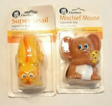 New listing Vtg Brand New 1987 Gerber Baby Squeeze toys. Super Snail and Mischief Mouse